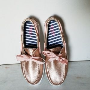 Sperry 5 rose gold leather boat shoes girls youth